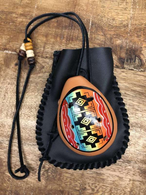 Handmade Peruvian Ocarina with Leather Pouch