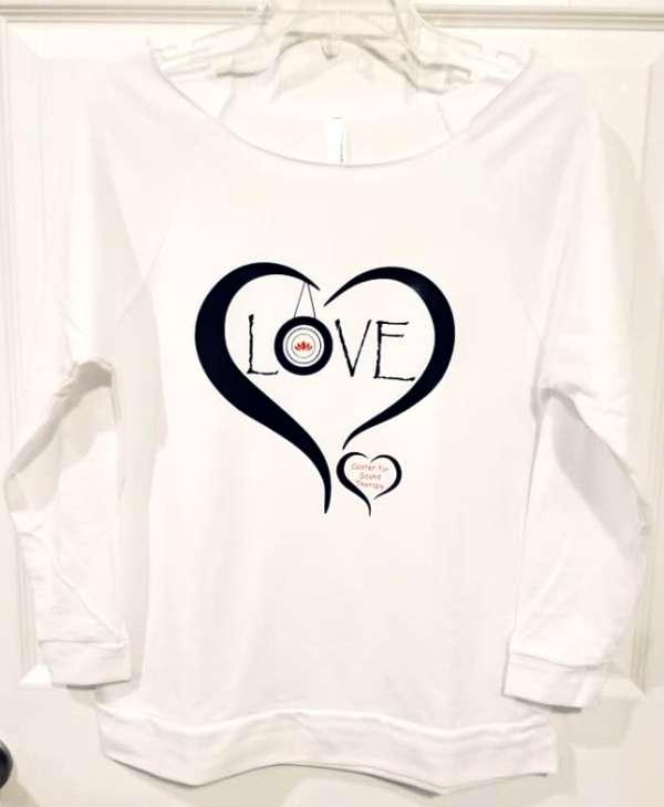White Love Wide Shoulder Sweatshirt