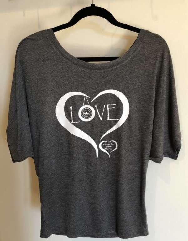 Gray Love Flowy T-shirt