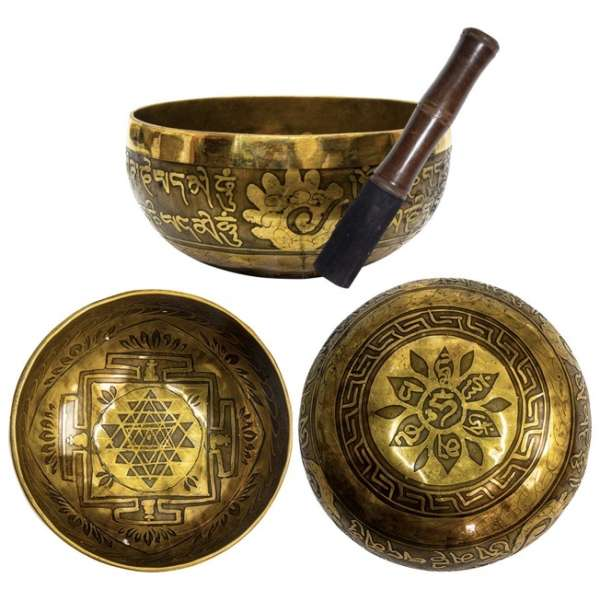 Sri Yantra Ancient Design Handcrafted Singing Bowl 5in