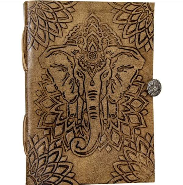 Elephant Leather Journal with Button Closure