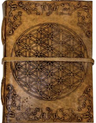 Flower of Life Leather Journal with Strap