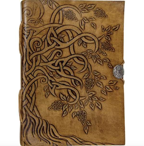 Tree of Life Leather Journal with Button Closure
