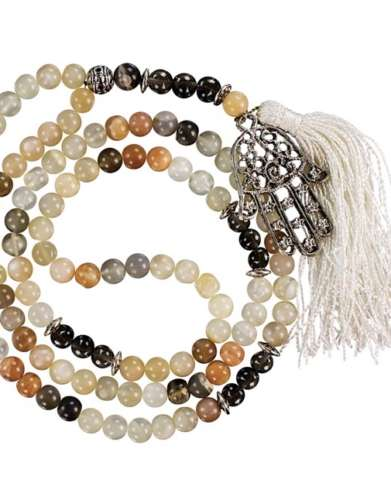 Fatima Hand Moonstone & Smokey Quartz Gemstone Mala