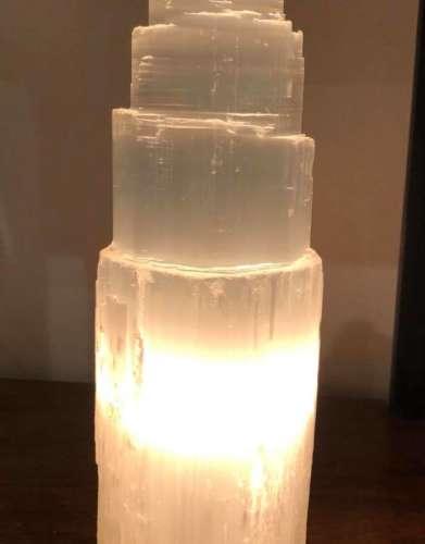 Selenite Lamp Natural Tower