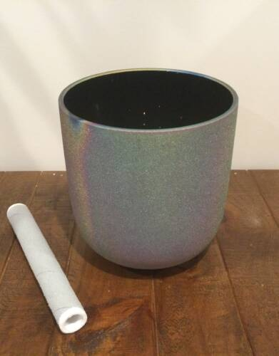 Frosted Titanium Rainbow Quartz Crystal Singing Bowl