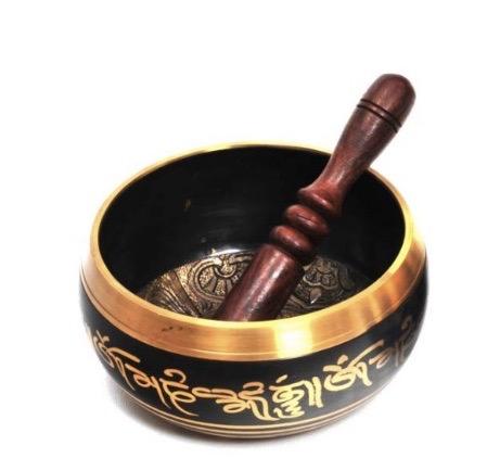 Brass Tibetan Singing Bowl - Black 5 Dhyani Buddhas