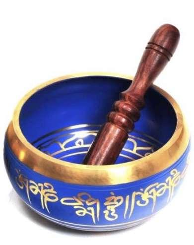 Brass Tibetan Singing Bowl - Blue